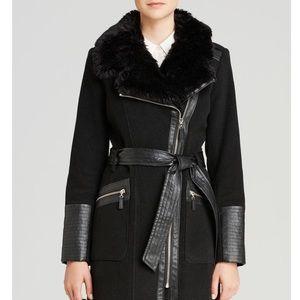 Via Spiga Jackets & Coats - Via Spiga Belted Faux Fir-Trim Asymmetric Coat